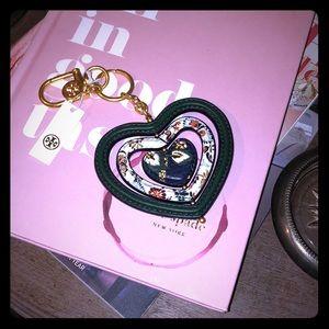 NWT Tory Burch Heart Spinner Key Fob